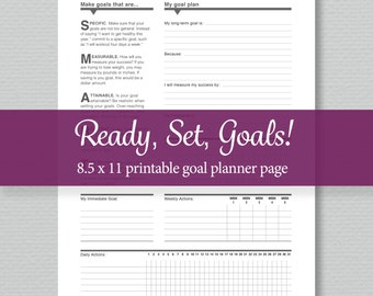 Goal Planner Printable - Editable PDF - Standard Letter Size -  by SassyPlanners