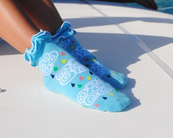 Frilly Ankle Socks Blue Clouds And Raindrops Short Socks