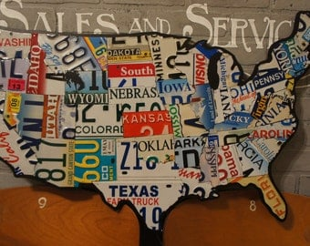 License Plate Map, Authentic USA Plates
