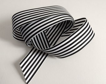 1-1/2 Inch Black and White Striped Ribbon (2 yd.)