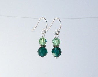 Shades of Green Swarovski Dangle Earrings-Sterling Silver