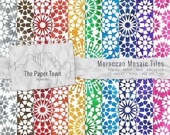 "Moroccan Mosaic Tile Designs Digital Scrapbook Paper Pack - 20 Mosaic Textured Digital Papers (12""x12"" - 300 dpi - JPG) -- INSTANT DOWNLOAD"