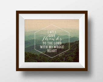 Psalm 9-1, 8x10 print, Christian Print, Bible Print, Bible Art, Inspirational Scripture, Wall Art Print, Wall Decor