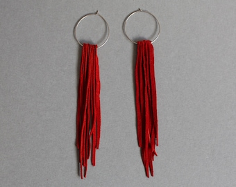 Red leather earrings ,  fringe earrings ,  scarlet earrings