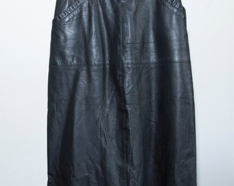 vintage 1980s black leather fitted pencil skirt