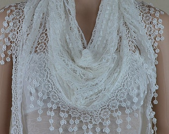 Classic white lace triangle scarf, fashion lace scarf, hollow out stripe cotton scarf