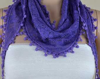 Cotton lace triangle scarf, fashion lace scarf, hollow out flower design scarf