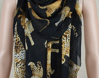 Black chiffon scarves, brown leopard print scarf, large size square scarf, shawl
