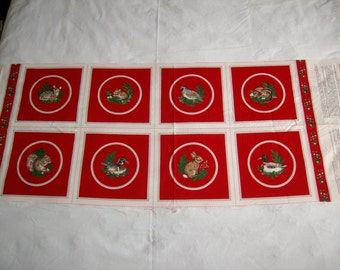 "VIP Christmas prints half yard 8 1/2 "" quilt squares,applique, vintage 100% cotton fabric"