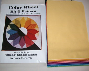 Color wheel pattern kit  for making color wheel quilt,fabric and instructions included,vintage