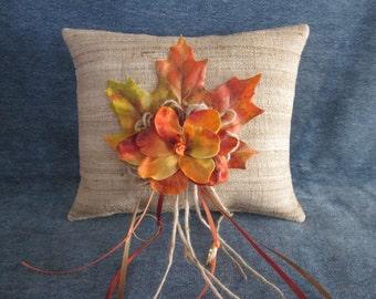 Wedding ring pillow, natural raw silk,fall maple leaf,orange,yellow flower,autumn