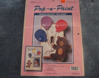 Balloon bear,pop-n-paint,single wood switch plate,teddy,folk art,craft,cut out,tole painting
