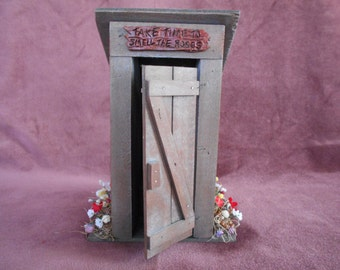 Outhouse, take time to smell the roses,wood,handmade,country folk,boy on throne