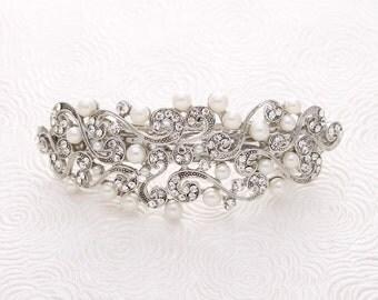 Crystal Pearl Hair Barrette Gatsby Old Hollywood Wedding Bridal Hairpiece Rhinestone Pearl Hair Barrettes Bridal Hair Accessory