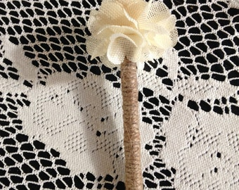 Rustic Wedding Guest Book Pen Jute Wrapped with Cream Burlap Flower
