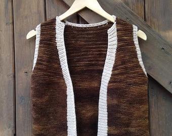 VINTAGE 1970s brown woven vest