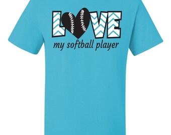 Love My Softball Player for mom dad grandma grandpa Softball T-shirt