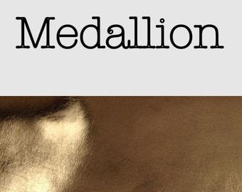 Gold metallic grain leatherette faux leather medallion a4