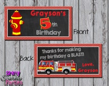 Printable FIRETRUCK TREAT Bag TOPPERS - Firefighter Treat Bag Toppers - Firetruck Bag Toppers - Firetruck Party Favor Toppers