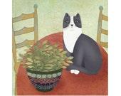 "Primitive Folk Art Print ""Cat on Table"""