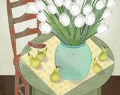 "Still Life Folk Art Print ""White Tulips and Pears"""
