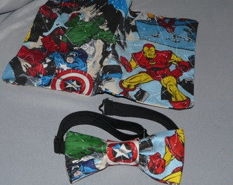 Super Hero Bow Tie and pocket square