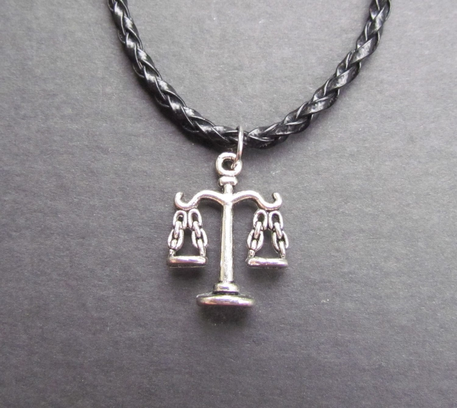 libra necklace leather cord libra scale charm by