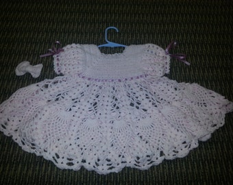 crochet baby/toddler dress with bow  light pink