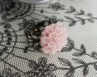 Dusty Rose Chrysanthemum Vintage Inspired Ring