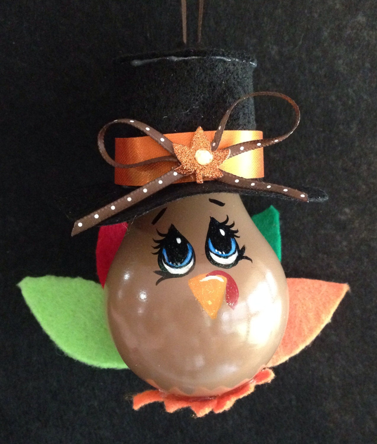 Christmas Light Bulb Decorations: Thanksgiving Painted Light Bulb Ornament Turkey Decoration