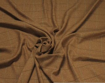 Fabric polyester wool Plaid Brown blended wool above diamond classic