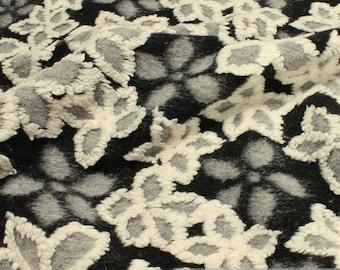Fabric wool polyester cotton fabric flower grey warm soft woolen