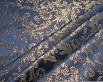 Fabric polyester Jacquard blue gold Lurex brocate baroque rococo width 300 cm