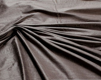 Fabric natural Shantung silk anthracite grey