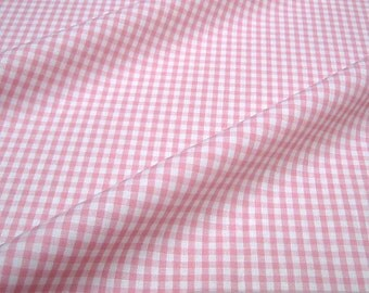 Fabric pure cotton Vichy check pink white 2.5 mm