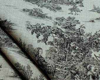 Fabric pure linen nature Toile de Jouy black classic