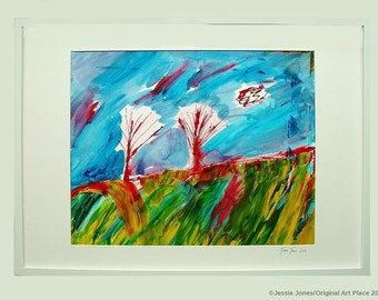 Framed original abstract painting. Title: 'The Dreaming Fields.' by Jessie Jones