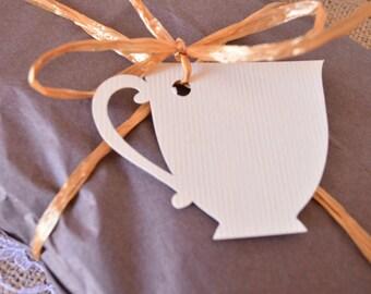 12 Teacup Tags (Cream Color)