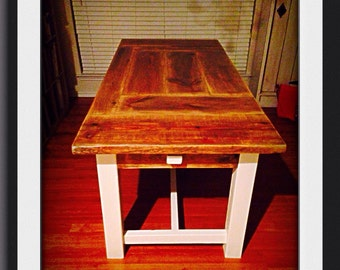 6 foot patchwork dining table with 4 foot bench