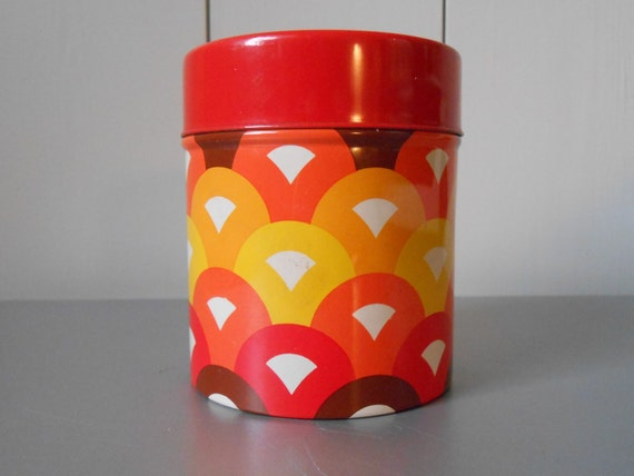 RESERVED FOR DONGWON - Small vintage 70s tin canister / container with retro psychedelic pattern in orange, red, brown and yellow