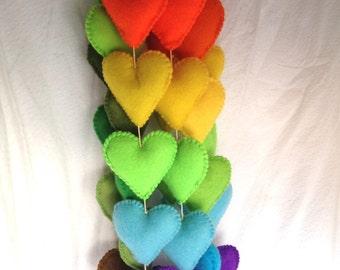 Rainbow hanging hearts