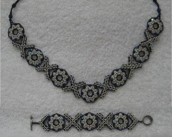 XOXO Beaded Jewelry Tutorial - Reversible Adjustable Length Necklace & Bracelet Pattern, Embellished Right Angle Weave Stitch