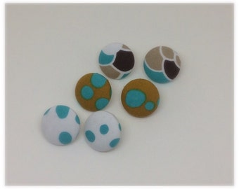 Blueprints- set of three fabric covered button earrings