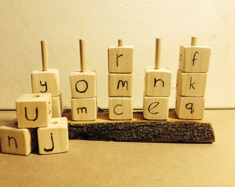 Natural Handmade Wooden Alphabet Stacking Blocks