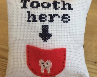 Tooth Fairy Pillow with felt tooth pocket. **made to order** **can be personalised**