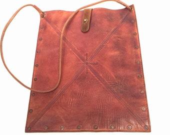 Embossed Leather Satchel Tote Messenger iPad Bag
