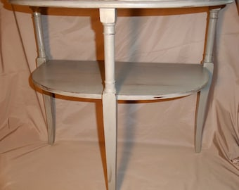 Vintage Mersman Side Table Refinished With Light Gray