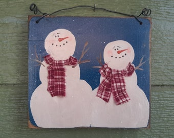 Personalized Snow Family Signs - 2 Snowmen