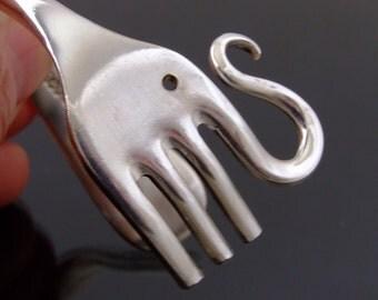 Vintage Silver Plated Elephant Fork Bangle Bracelet  Handmade jewellery