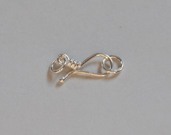 Sterling Silver, Large Hook, Hook and Eye set, 28x8mm, 18 Gauge, Fast Shipping from USA